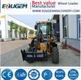 Eougem setzte das 1.2 Tonnen-Cer-für Preis mini kleine Vorderseite-Rad-Dieselladevorrichtung mit Schnee-Gebläse fest