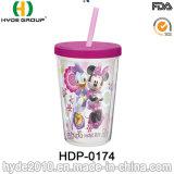 かわいい12oz BPAはわらが付いているプラスチック飲むコップを放す