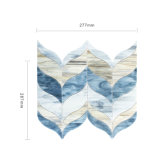 Mosaico di vetro blu di figura di foglio delle mattonelle di nuovo disegno per la decorazione domestica