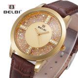 Montre imperméable à l'eau de cuir d'or de Rose de montre de diamant de Belbi de mode dernier cri femelle de mode