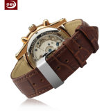 Relógio de couro de quartzo do aço inoxidável da forma para homens