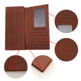 Gute Qualitätsechtes Leder-Mann-Mappen-lange Art mit Identifikation-Fenster