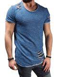 Sleeve Courte Crew Neck Slim Fit Fitness T-Shirt Tops de Homme avec Trous de RIP
