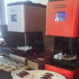 La llegada de nuevos alimentos comestibles la galleta de chocolate/ /Jam/impresora 3D de la patata