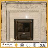 De witte Marmeren/Gele Afdekplaat/de Rand van de Open haard van het Marmer/van het Graniet