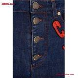 Multicolored High-Rise van de Flarden van het Borduurwerk flakkerde de Donkere Jeans van het Denim voor Vrouwen