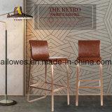 Rose Gold da estrutura de aço inoxidável Brown Assento de Couro PU alta contrapressão Cadeira Banqueta