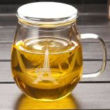 주요한 질 필터를 가진 유리제 차잔은 로고 차 유리 찻잔을 주문을 받아서 만든다