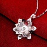 Juwelen van de Halsband van Zircon van de Tegenhanger van de Vorm van de Bloem van Lotus van de Verkoop van de buitenlandse Handel de Artistieke Echte Zilveren Geplateerde