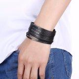 Neue Idee des Form-Entwurfs-Punkart-Schwarz-Leder-Silber überzogenen Armbandes