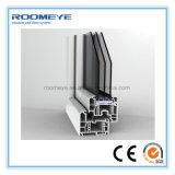 Roomeye paste de Witte Open Buitenkant van het Openslaand raam van pvc met Dubbele Sjerp aan