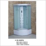 Cabina de ducha de puerta corredera con vidrio de tela templada