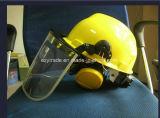 Capacete de segurança da indústria química com PC Face Shield e Earmuff