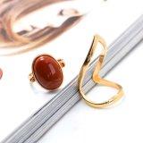 금은 큰 기하학적인 반지 포도주 붉은색 타원형 자연적인 돌 반지 세트를 도금했다