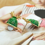 Chapéu Epoxy verde do Natal com jóia do Natal dos brincos do parafuso prisioneiro do Antler