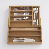 Scatola di immagazzinaggio della coltelleria della scatola, contenitore di bambù di coltelleria, cassetto ritrattabile di bambù (CT-005)