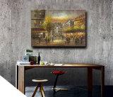 Art de mur décoratif d'hôtel Peinture à l'huile de toile d'art de rue de Paris