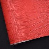 Cuoio impresso rosso dell'unità di elaborazione della corteccia di albero, cuoio strutturato artificiale del sacchetto