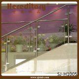 Pórtico de cristal del acero inoxidable que cerca el pasamano del acero con barandilla inoxidable (SJ-S076)