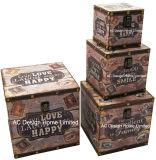 S/4 Doos van de Boomstam van de Opslag van de Druk Pu Leather/MDF van het Ontwerp van de Lach van de Liefde van de Decoratie de Antieke Uitstekende Levende Vierkante Houten