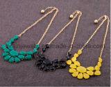 Multi-Color Vintage antiguo pliegues Material acrílico con oro collares cadenas suéter amarillo negro verde oscuro (PN-128)