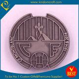 Prata antiga moeda metálica com relevo para a Loja Dom