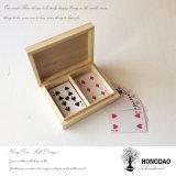 Rectángulo de madera de encargo de Hongdao Playcard con la insignia de encargo plateada de metal Wholesale_D