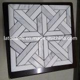 Remise de carreaux de mosaïque blanc de Carrare Waterjet, marbre Waterjet Pattern de plancher