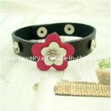 La moda Estrás el doble de ciruela negra Flor Pulsera de cuero auténtico Flor decoración floral Artificial (PB-004)