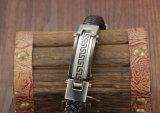 Neues Entwurfs-Weinlese-Edelstahl-Armbandmens-Leder-Armband