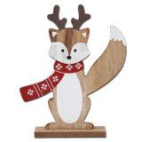 Decorazione di legno della Tabella di Fox di natale o decorazione di natale in azione