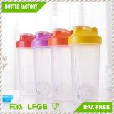 600ml botella agitador de la Proteína de plástico con la bola de acero inoxidable