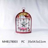 Reloj Metal Bird Cage Diseño en Crimson acabado para la decoración del hogar