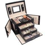 Caja grande de cuero del regalo de la cabina del anillo del collar de la joyería