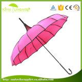 Kundenspezifischer Rippen-Punkt-Ordnungs-Pagode-Regenschirm des Firmenzeichen-Druck-Purpur-16