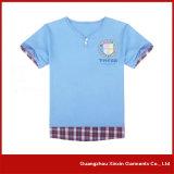 T-shirt rond blanc de collet estampé par coutume pour le cadeau promotionnel (R196)