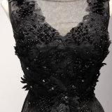 Schwarzes Sequin-Spitze-Abschlussball-Cocktail-Abend-Kleid