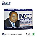 Карточка LCD 4.3 дюймов видео- для политических кампаний