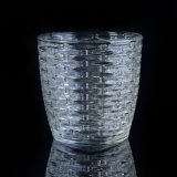 310ml de Houders van de Kaars van het Glas van het kristal met Geweven Patroon