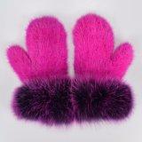 Warmer lederner Handschuh-Nerz-Pelz-Handschuh/lederner Palmen-Kaninchen-Pelz-Handschuh