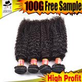 les cheveux humains 9A brésiliens bouclés donnent à la vente chaude