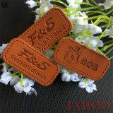 Produtos OEM personalizados Rótulo em pele genuína com relevo para vestuário