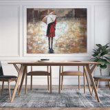 Impressionnant Lady rouge dans la pluie de toile pour la décoration d'art mural