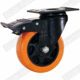Mittleres Aufgabe PU-Gewinde-Stamm-Oberseite-Bremsen-Fußrollen-Rad (orange) (G3206E)