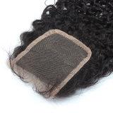 Fechamento Curly peruano do cabelo humano de 100% com cabelo do bebê