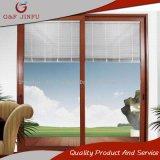 Деревянные зерна алюминиевые раздвижные двери из стекла с жалюзи