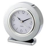 Reloj de alarma de plata silencioso de la dimensión de una variable redonda del cromo