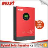 Inversor solar híbrido de la eficacia alta de la visualización de PV1800 LCD+LED