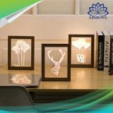 3D Cadre Photo de lumière LED créatif en bois avec cadre photo Blanc chaud à la lumière de nuit stéréo USB
