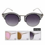 Cat Eye Female Fashion gradient Sunglasses with Stainless Frame (HFF0029)